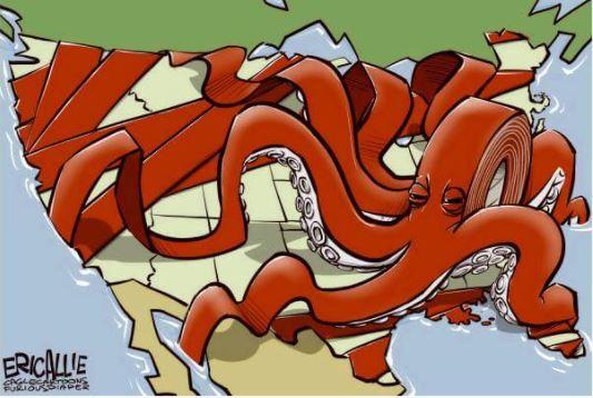 Eric Allie Political Cartoon Bureauctopus